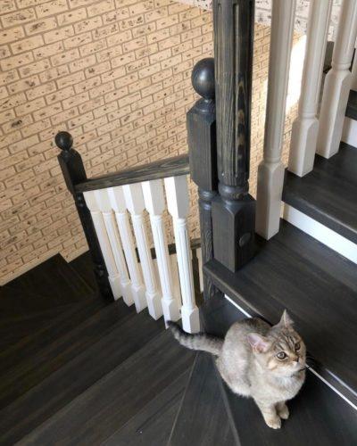 Лестница в современном стиле с квадратной пригласительной